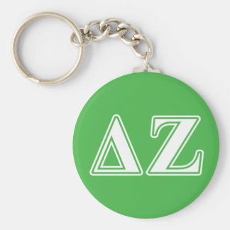 Delta Zeta White and Green Letters Key Ring