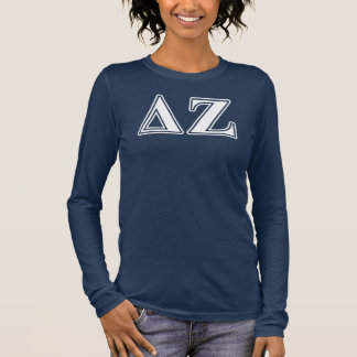 Delta Zeta White and Green Letters Long Sleeve T-Shirt