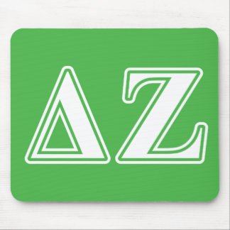 Delta Zeta White and Green Letters Mouse Mat