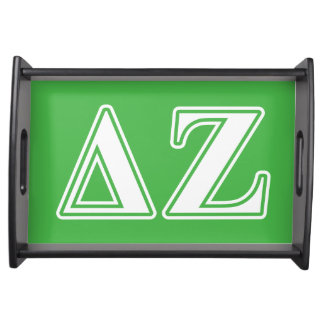 Delta Zeta White and Green Letters Serving Tray