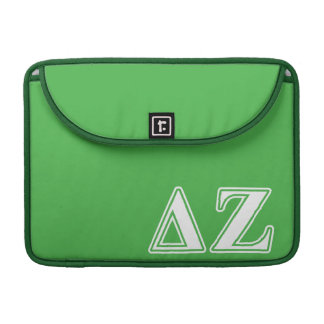 Delta Zeta White and Green Letters Sleeve For MacBooks