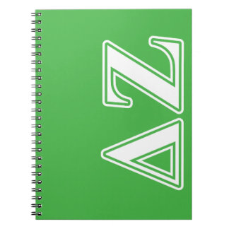 Delta Zeta White and Green Letters Spiral Notebook