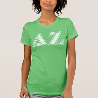 Delta Zeta White and Green Letters T-Shirt