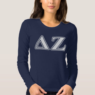 Delta Zeta White and Green Letters T Shirts