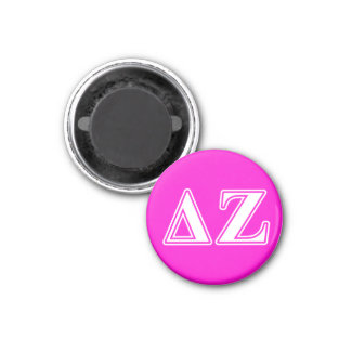 Delta Zeta White and Pink Letters Magnet