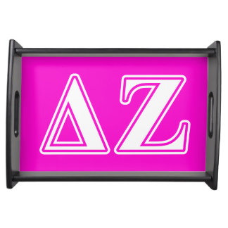 Delta Zeta White and Pink Letters Serving Tray