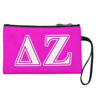 Delta Zeta White and Pink Letters Wristlet