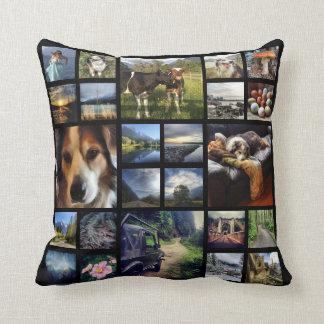 Deluxe 24 Instagram Photos Mega Collage Black Cushion