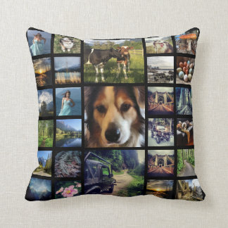 Deluxe 54 Instagram Photos Mega Collage Black Throw Cushions