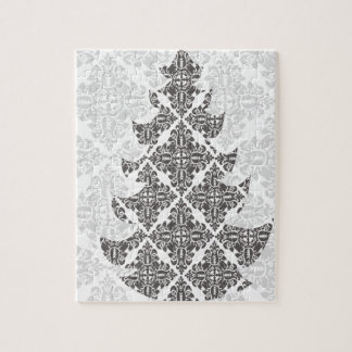 DeLuxe Black and White Damask Christmas Tree Jigsaw Puzzle