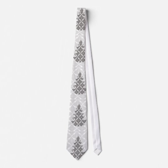 DeLuxe Black and White Damask Christmas Tree Tie