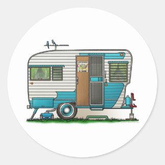 Deluxe Camper Trailer Round Sticker
