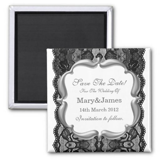 Deluxe Save The Date Wedding Vintage Lace White Refrigerator Magnet