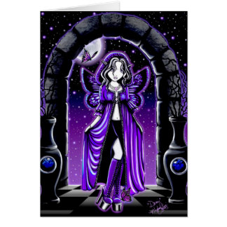 """Demi"" Gothic Blue Butterfly Fairy Art Card"
