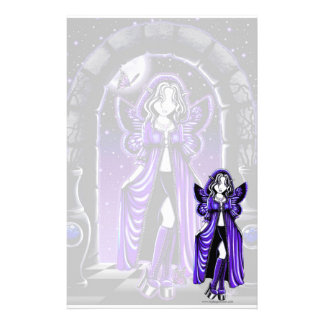 """Demi"" Gothic Blue Butterfly Fairy Art Stationery"