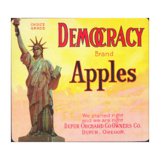Democracy Apple Crate LabelDufur, OR Canvas Print
