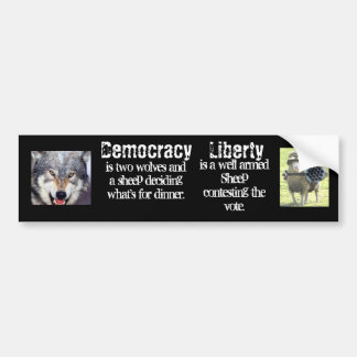 Democracy versus Liberty Bumper Sticker