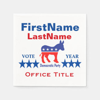 Democrat Custom Campaign Template Paper Napkins