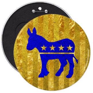 Democrat Donkey Blue Gold 6 Cm Round Badge