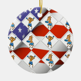 Democrat Donkey Boxer Christmas Ornament
