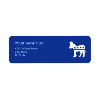 Democrat Donkey Label Return Address Label