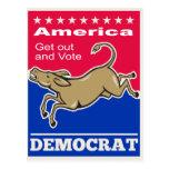 Democrat Donkey Mascot America Vote Postcard