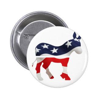 Democrat Donkey with USA Flag Superimposed 6 Cm Round Badge