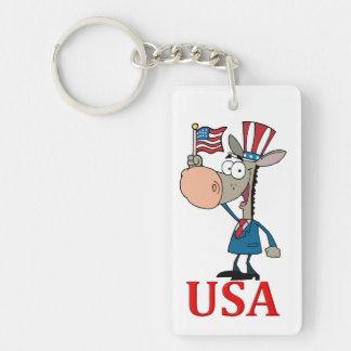 democrat donkey with usa Double-Sided rectangular acrylic key ring