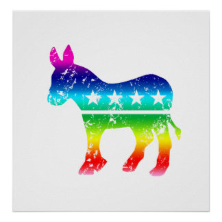 Democrat Original Donkey Distressed Rainbow Poster