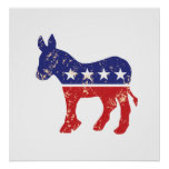 Democrat Original Donkey Distressed Tan Print