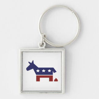 Democrat Poop Silver-Colored Square Key Ring