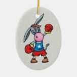democratic donkey boxing ceramic oval decoration