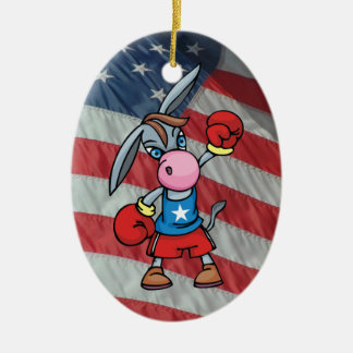democratic donkey boxing christmas ornament