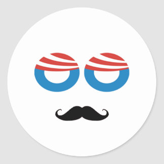 Democratic Man - Mustache You A Question Round Sticker