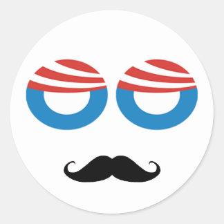 Democratic Man - Mustache You A Question Round Sticker