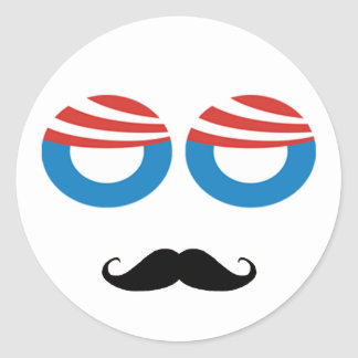 Democratic Man - Mustache You A Question Round Stickers