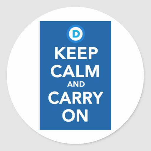 Democratic Party Keep Calm Blue.png Round Stickers