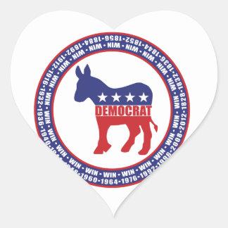 Democratic Party Wins Heart Sticker