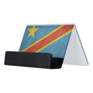 Democratic Republic of Congo Flag Desk Business Card Holder