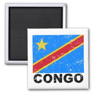 Democratic Republic of Congo Vintage Flag Square Magnet