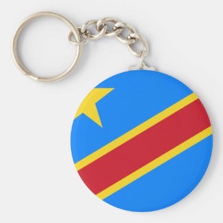 Democratic Republic of the Congo Flag Basic Round Button Key Ring