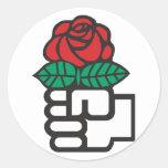 Democratic Socialism (the fist and rose symbol) Round Sticker