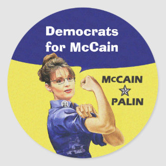 Democrats for McCain and Palin Classic Round Sticker