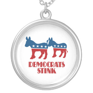 Democrats Stink Round Pendant Necklace