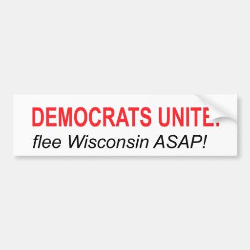 Democrats Unite: Flee! Car Bumper Sticker