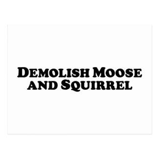 Demolish Moose and Squirrel - Mixed Clothes Postcard