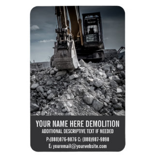 Demolition Rubble and Equipment Rectangular Photo Magnet