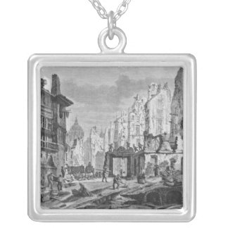 Demolitions for the building of Rue des Ecoles Silver Plated Necklace