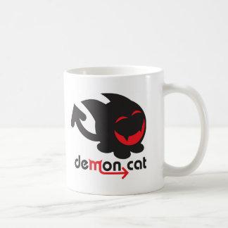 demon cat black basic white mug