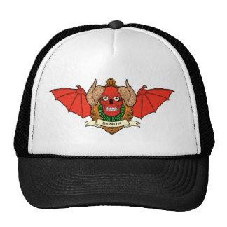 Demon Devil Skull with Bat Wings and Rams Horns Cap
